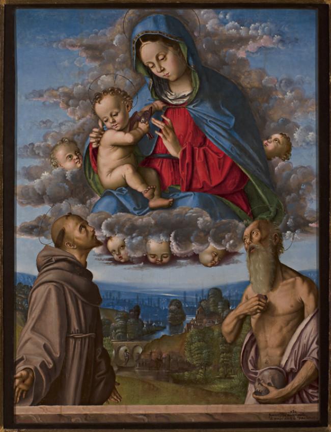 Madonna con Bambino in gloria adorata dai Santi Francesco d'Assisi e Girolamo