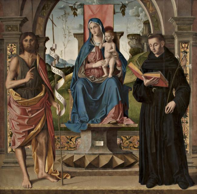 Madonna con Bambino benedicente in trono e i Santi Giovanni Battista e Nicola da Tolentino