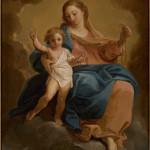 Madonna del rosario con il Bambino benedicente sulle nubi